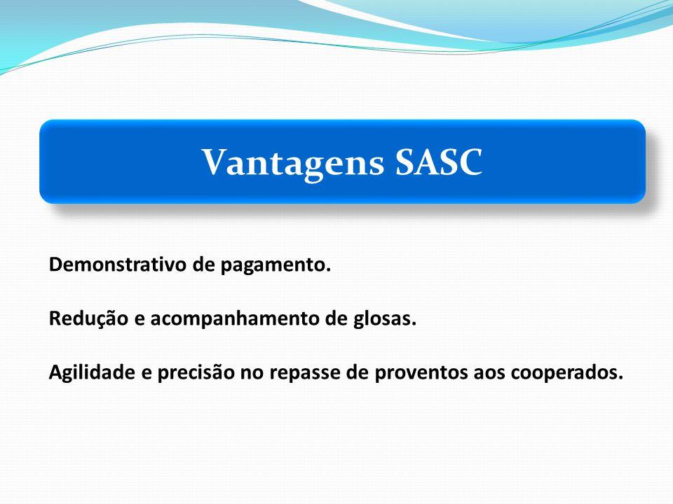 Vantagens SASC Demonstrativo de pagamento. Redução e acompanhamento de glosas. Agilidade e precisão no repasse de proventos aos cooperados.