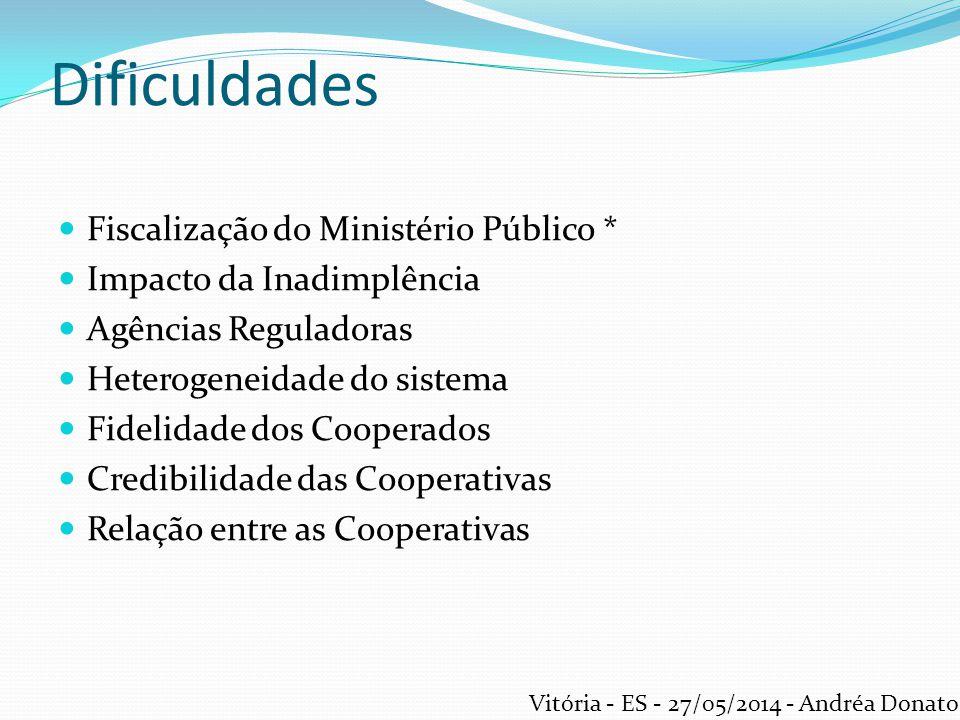 Desafios Legislação do setor Ações públicas ( ex.: Paraná) Profissionalização Conscientização dos Cooperados Divulgação em mídia do setor cooperativista Intercooperação Vitória - ES - 27/05/2014 - Andréa Donato