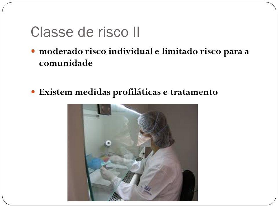 Classe de risco II moderado risco individual e limitado risco para a comunidade Existem medidas profiláticas e tratamento