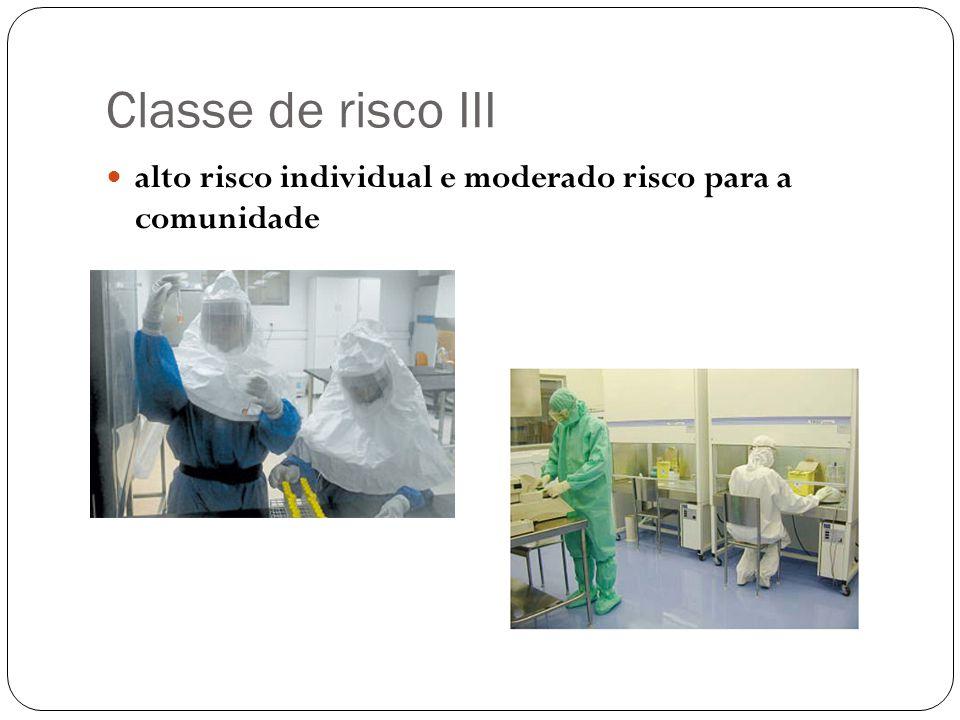 Classe de risco III alto risco individual e moderado risco para a comunidade