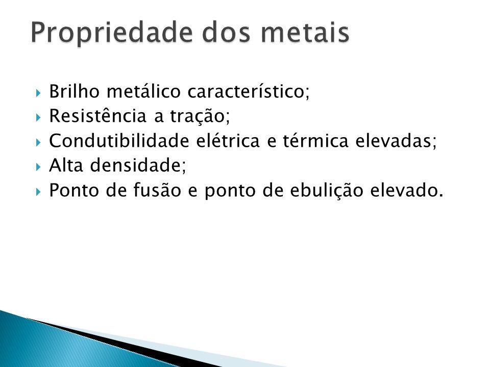  Brilho metálico característico;  Resistência a tração;  Condutibilidade elétrica e térmica elevadas;  Alta densidade;  Ponto de fusão e ponto de