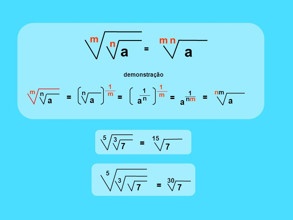 m = a n = nmnm a 1 a nmnm a nm m a n a 1 m n = 1 m n a 1 = = = 7 15 5 7 3 = 7 5 3 30 7