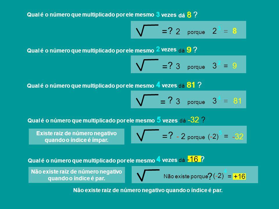 dá -32 ? 3 vezes dá 9 ? -16 -32 81 Não existe porque - 2 = = dá -16 ? = 8 3 = +16 4 vezes 5 vezes 5 4 vezes 2 vezes 9 ? dá 8 ? Qual é o número que mul