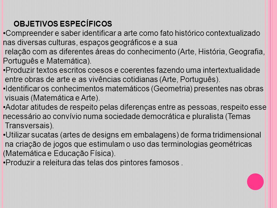 OBJETIVOS ESPECÍFICOS Compreender e saber identificar a arte como fato histórico contextualizado nas diversas culturas, espaços geográficos e a sua re