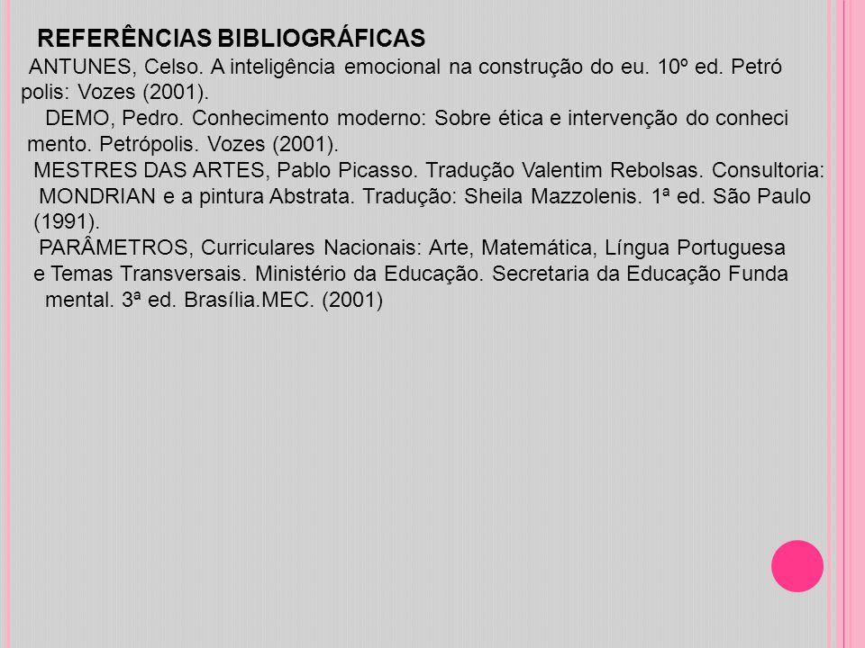 REFERÊNCIAS BIBLIOGRÁFICAS ANTUNES, Celso. A inteligência emocional na construção do eu. 10º ed. Petró polis: Vozes (2001). DEMO, Pedro. Conhecimento