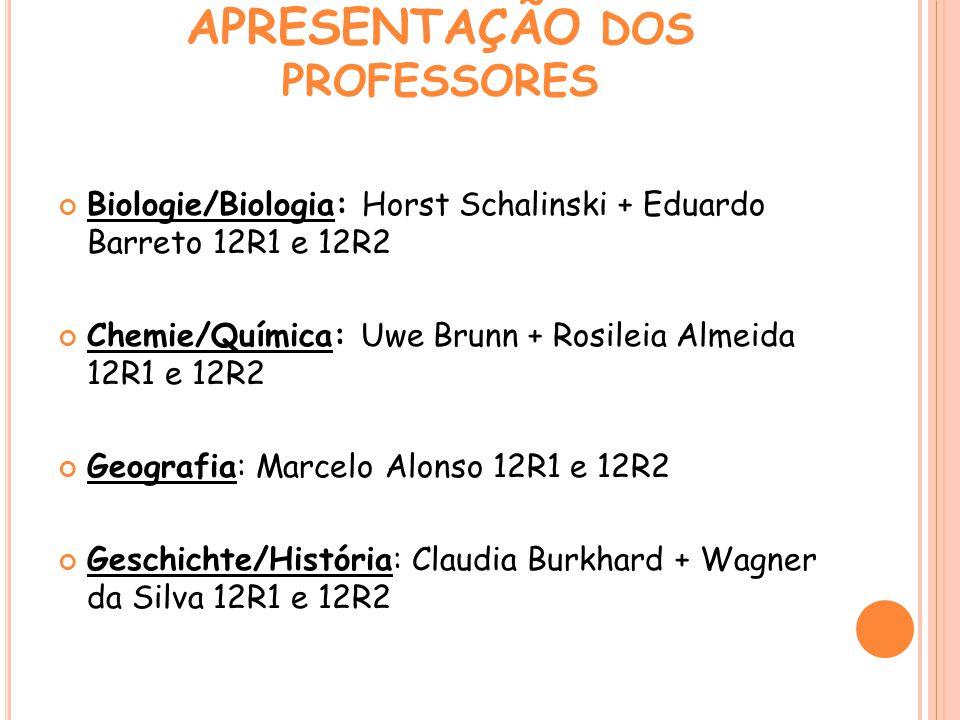 APRESENTAÇÃO DOS PROFESSORES Biologie/Biologia: Horst Schalinski + Eduardo Barreto 12R1 e 12R2 Chemie/Química: Uwe Brunn + Rosileia Almeida 12R1 e 12R
