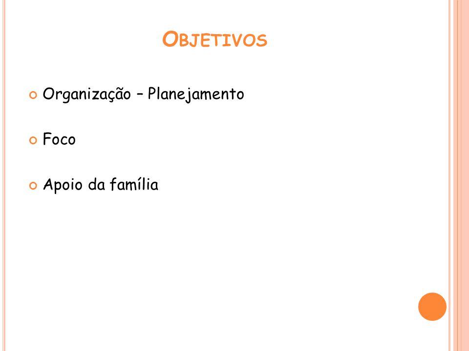 O BJETIVOS Organização – Planejamento Foco Apoio da família
