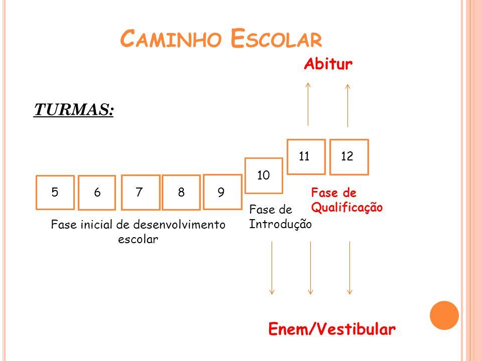 C AMINHO E SCOLAR 5 6789 11 10 12 Fase de Introdução TURMAS: Abitur Fase inicial de desenvolvimento escolar Fase de Qualificação Enem/Vestibular