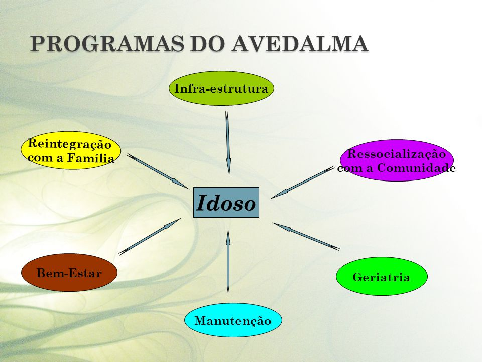 PROGRAMAS DO AVEDALMA Idoso Infra-estrutura Ressocialização com a Comunidade Geriatria Reintegração com a Família Bem-Estar Manutenção