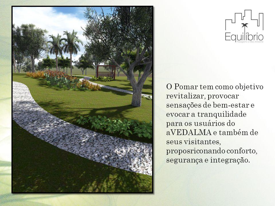 O Pomar tem como objetivo revitalizar, provocar sensações de bem-estar e evocar a tranquilidade para os usuários do aVEDALMA e também de seus visitant