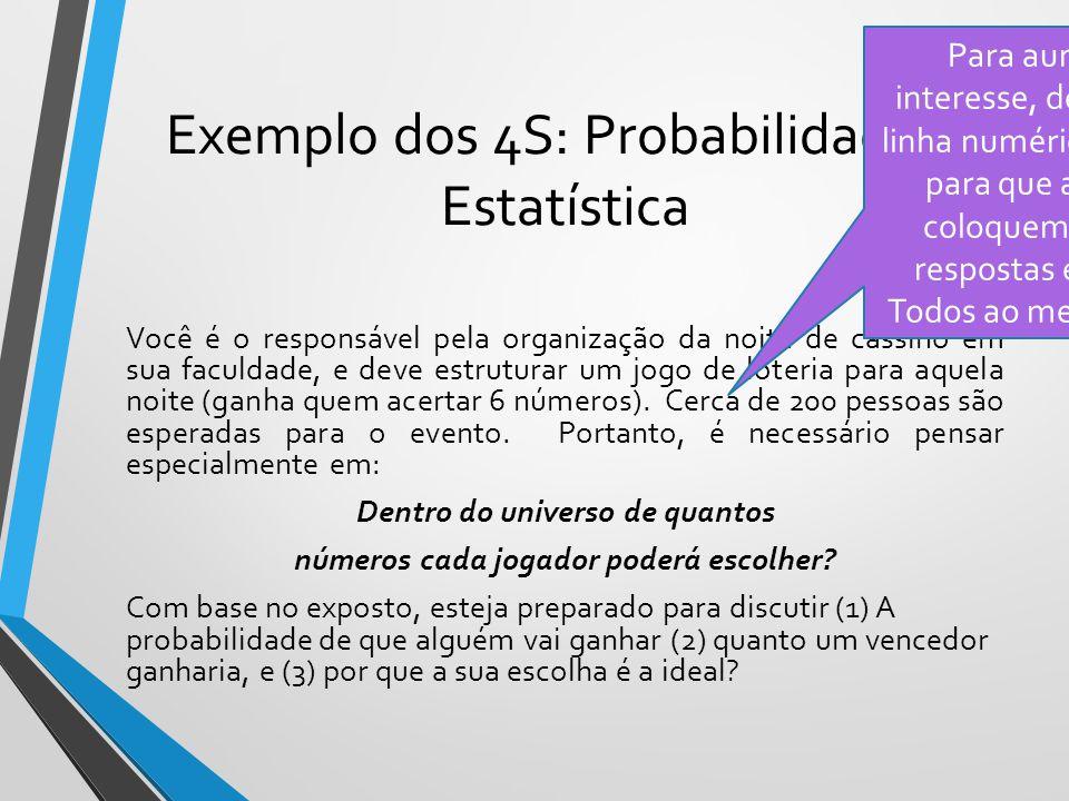Exemplo dos 4S: Probabilidade e Estatística Você é o responsável pela organização da noite de cassino em sua faculdade, e deve estruturar um jogo de l