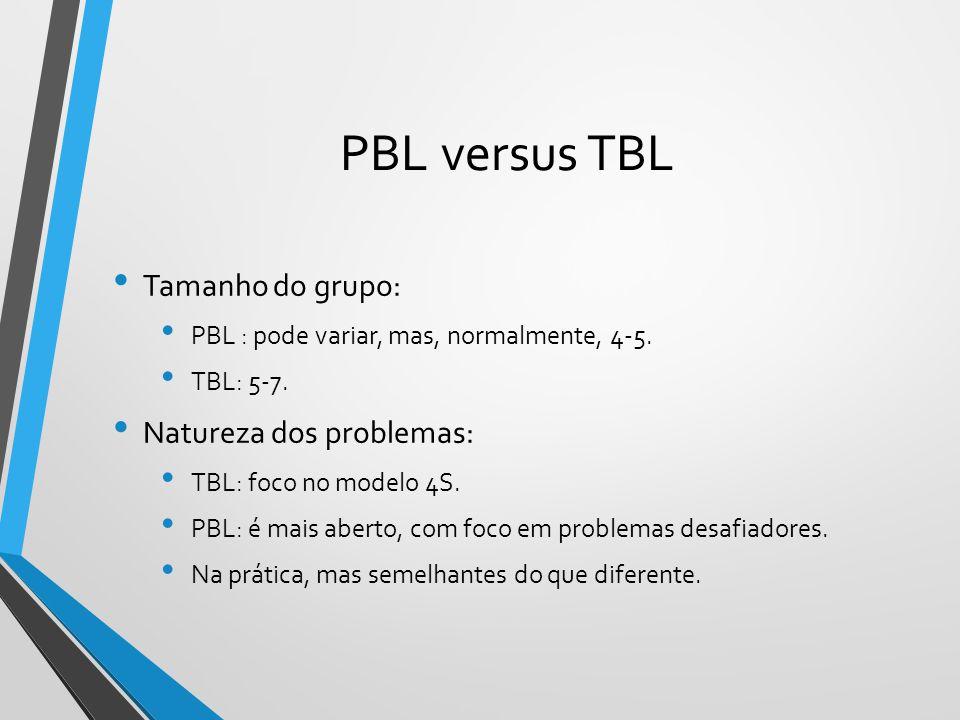 PBL versus TBL Tamanho do grupo: PBL : pode variar, mas, normalmente, 4-5. TBL: 5-7. Natureza dos problemas: TBL: foco no modelo 4S. PBL: é mais abert