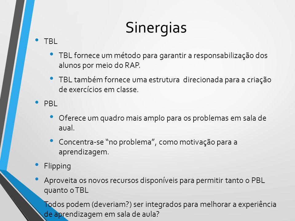 Sinergias TBL TBL fornece um método para garantir a responsabilização dos alunos por meio do RAP. TBL também fornece uma estrutura direcionada para a