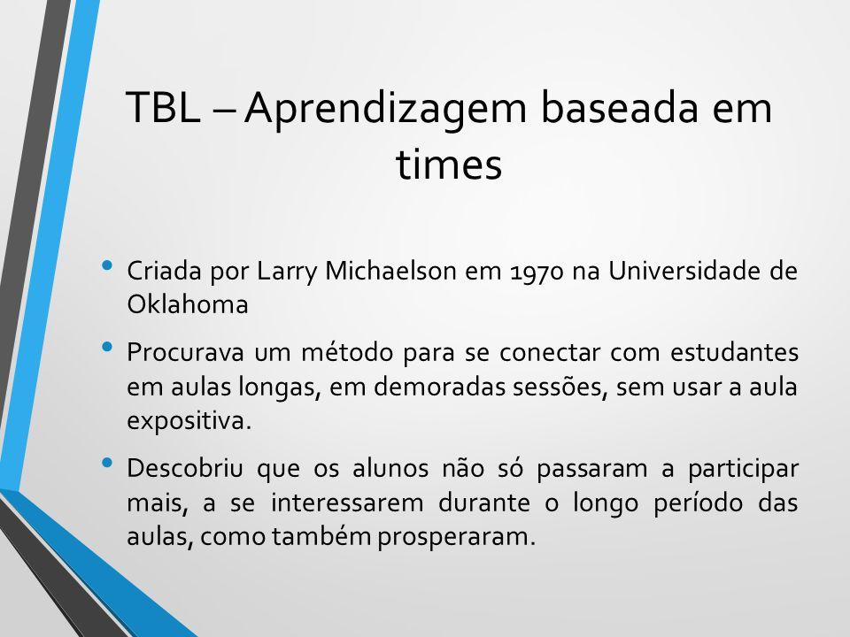 TBL – Aprendizagem baseada em times Criada por Larry Michaelson em 1970 na Universidade de Oklahoma Procurava um método para se conectar com estudante
