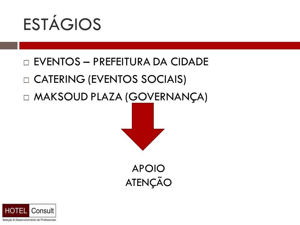 ESTÁGIOS  EVENTOS – PREFEITURA DA CIDADE  CATERING (EVENTOS SOCIAIS)  MAKSOUD PLAZA (GOVERNANÇA) APOIO ATENÇÃO