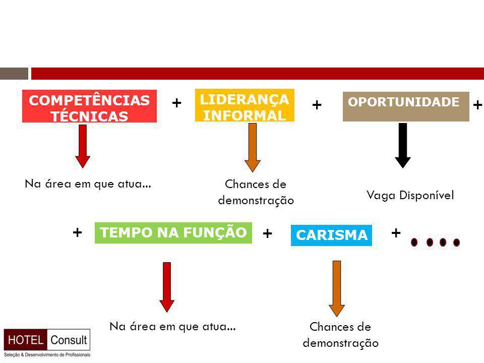 COMPETÊNCIAS TÉCNICAS + LIDERANÇA INFORMAL + OPORTUNIDADE Na área em que atua...