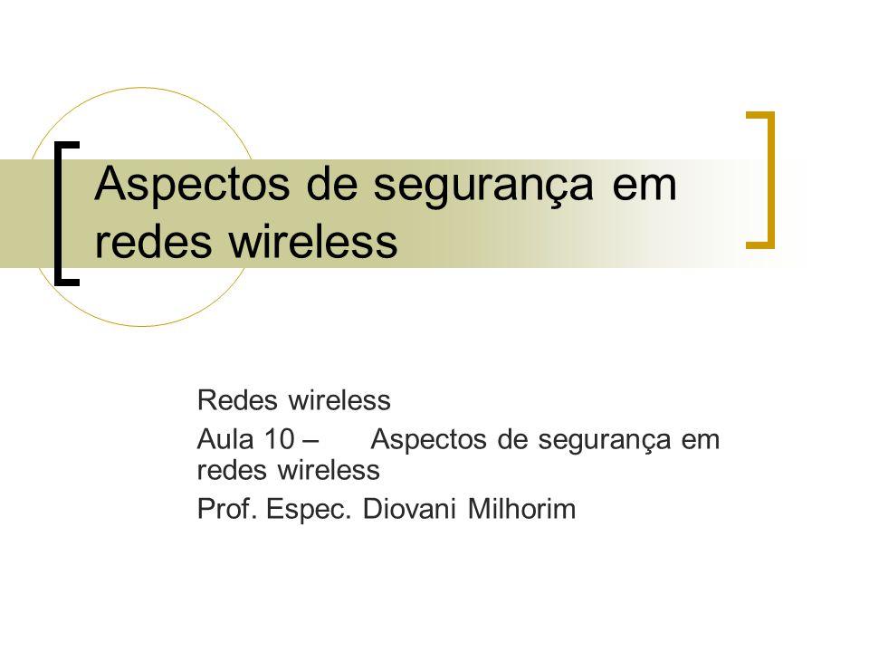 Aspectos de segurança em redes wireless Redes wireless Aula 10 – Aspectos de segurança em redes wireless Prof.