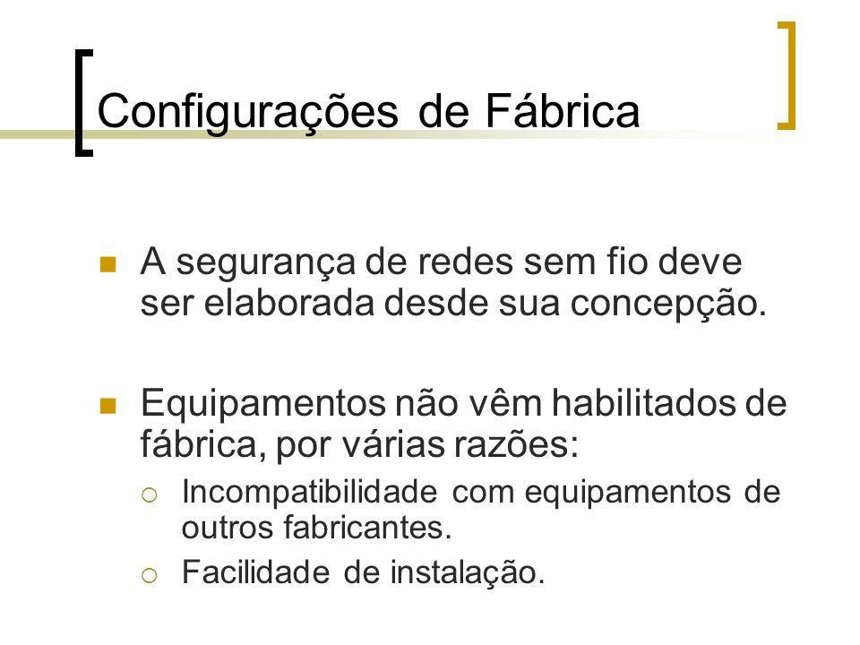Configurações de Fábrica A segurança de redes sem fio deve ser elaborada desde sua concepção.