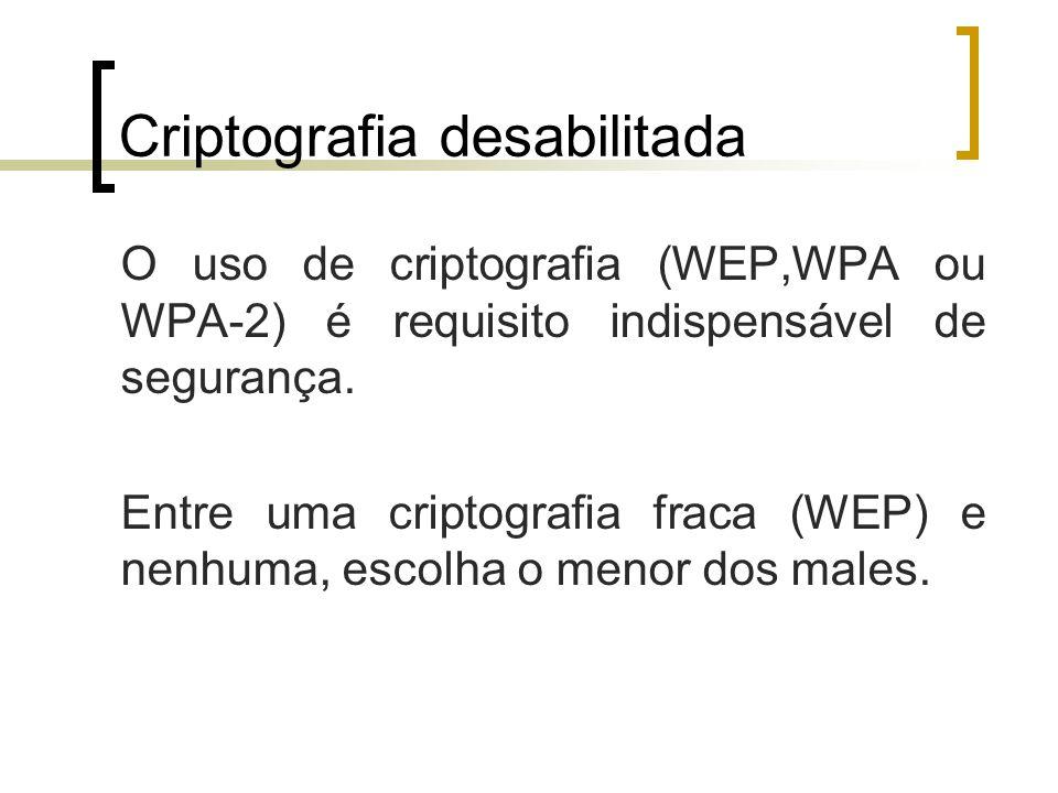 Criptografia desabilitada O uso de criptografia (WEP,WPA ou WPA-2) é requisito indispensável de segurança.