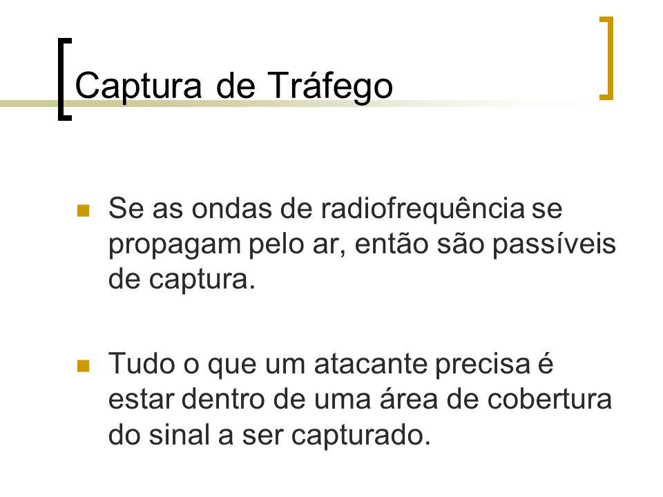 Captura de Tráfego Se as ondas de radiofrequência se propagam pelo ar, então são passíveis de captura.