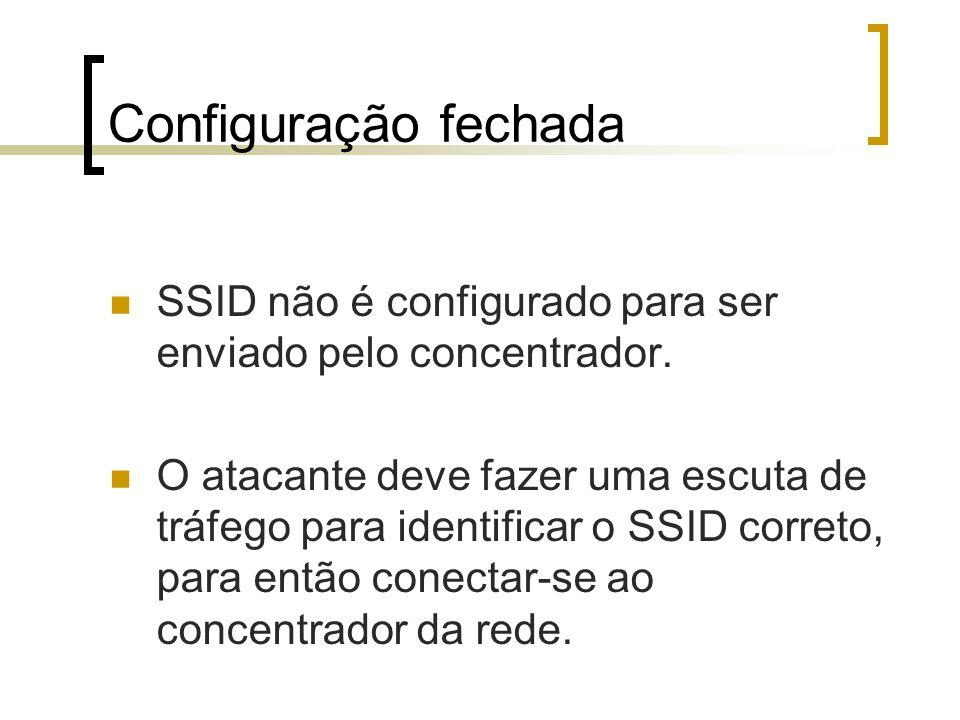 Configuração fechada SSID não é configurado para ser enviado pelo concentrador.