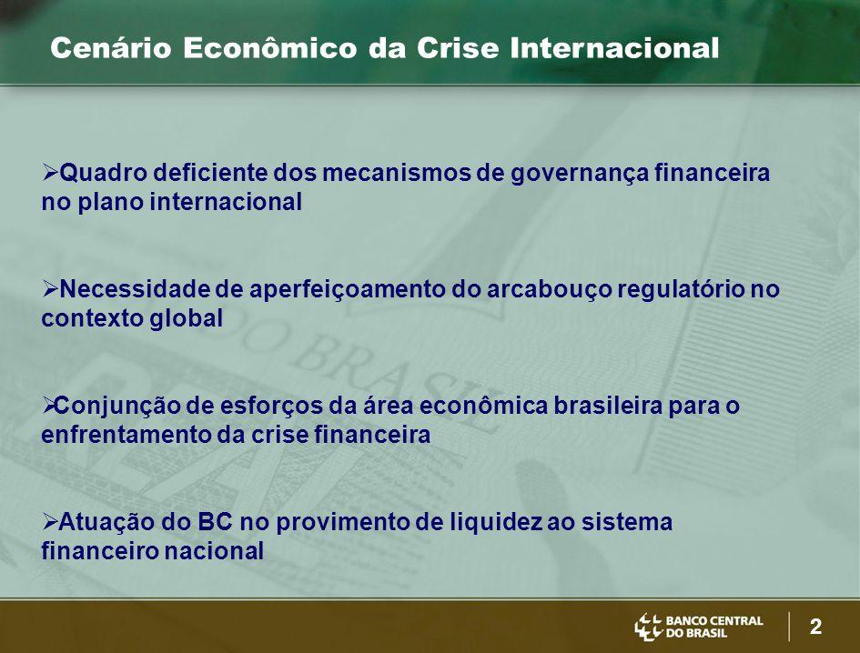 2 Cenário Econômico da Crise Internacional  Quadro deficiente dos mecanismos de governança financeira no plano internacional  Necessidade de aperfeiçoamento do arcabouço regulatório no contexto global  Conjunção de esforços da área econômica brasileira para o enfrentamento da crise financeira  Atuação do BC no provimento de liquidez ao sistema financeiro nacional