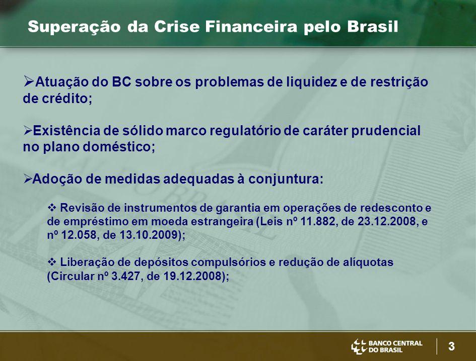 3 Superação da Crise Financeira pelo Brasil  Atuação do BC sobre os problemas de liquidez e de restrição de crédito;  Existência de sólido marco regulatório de caráter prudencial no plano doméstico;  Adoção de medidas adequadas à conjuntura:  Revisão de instrumentos de garantia em operações de redesconto e de empréstimo em moeda estrangeira (Leis nº 11.882, de 23.12.2008, e nº 12.058, de 13.10.2009);  Liberação de depósitos compulsórios e redução de alíquotas (Circular nº 3.427, de 19.12.2008);