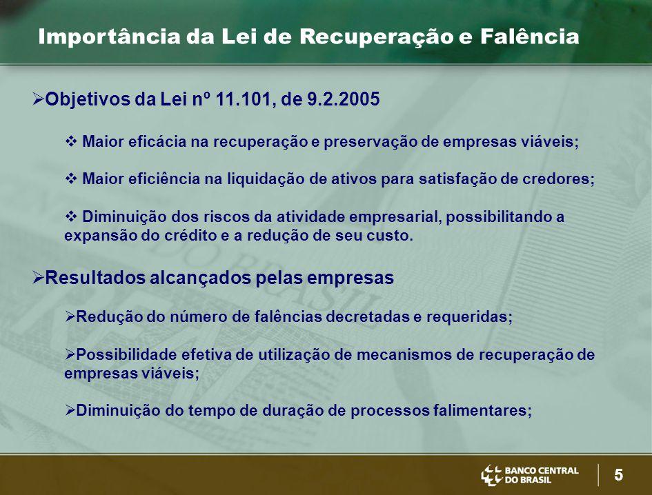 5 Importância da Lei de Recuperação e Falência  Objetivos da Lei nº 11.101, de 9.2.2005  Maior eficácia na recuperação e preservação de empresas viá