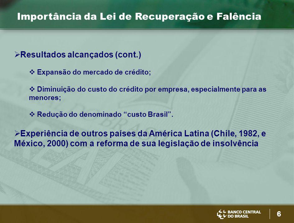 6 Importância da Lei de Recuperação e Falência  Resultados alcançados (cont.)  Expansão do mercado de crédito;  Diminuição do custo do crédito por empresa, especialmente para as menores;  Redução do denominado custo Brasil .