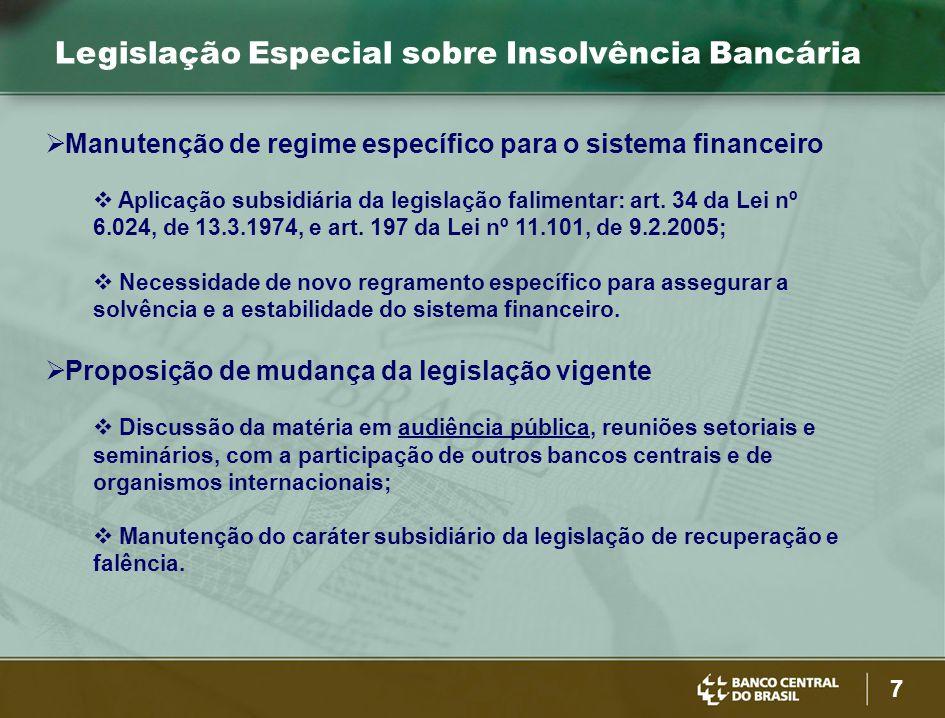 7 Legislação Especial sobre Insolvência Bancária  Manutenção de regime específico para o sistema financeiro  Aplicação subsidiária da legislação fal