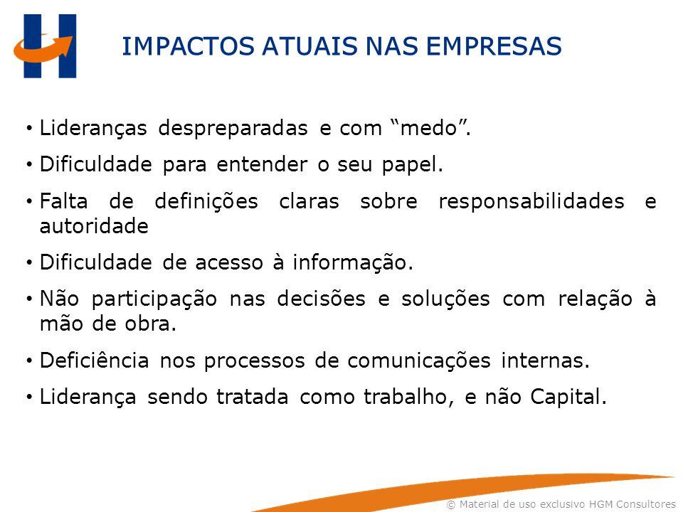 """© Material de uso exclusivo HGM Consultores IMPACTOS ATUAIS NAS EMPRESAS Lideranças despreparadas e com """"medo"""". Dificuldade para entender o seu papel."""