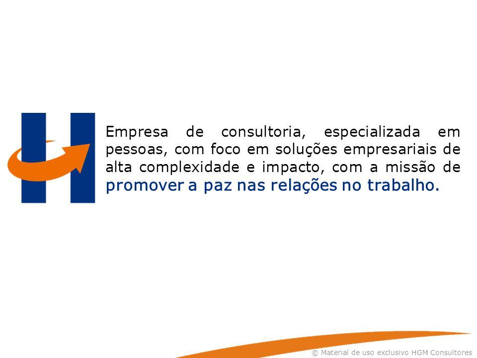 © Material de uso exclusivo HGM Consultores Empresa de consultoria, especializada em pessoas, com foco em soluções empresariais de alta complexidade e