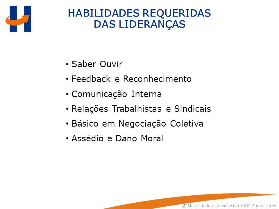 © Material de uso exclusivo HGM Consultores HABILIDADES REQUERIDAS DAS LIDERANÇAS Saber Ouvir Feedback e Reconhecimento Comunicação Interna Relações T