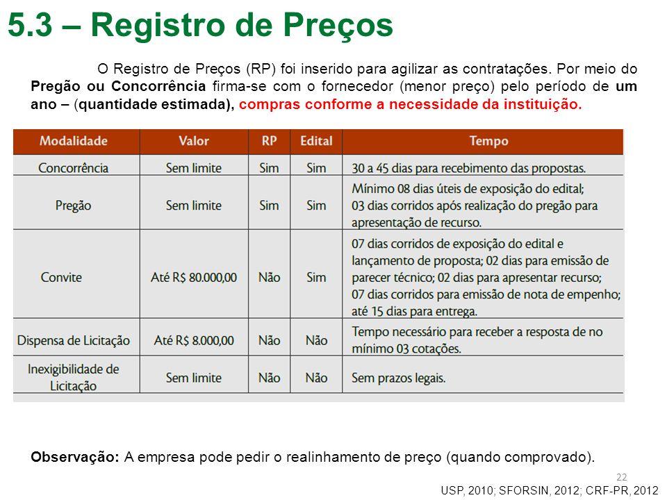 5.3 – Registro de Preços 22 O Registro de Preços (RP) foi inserido para agilizar as contratações. Por meio do Pregão ou Concorrência firma-se com o fo