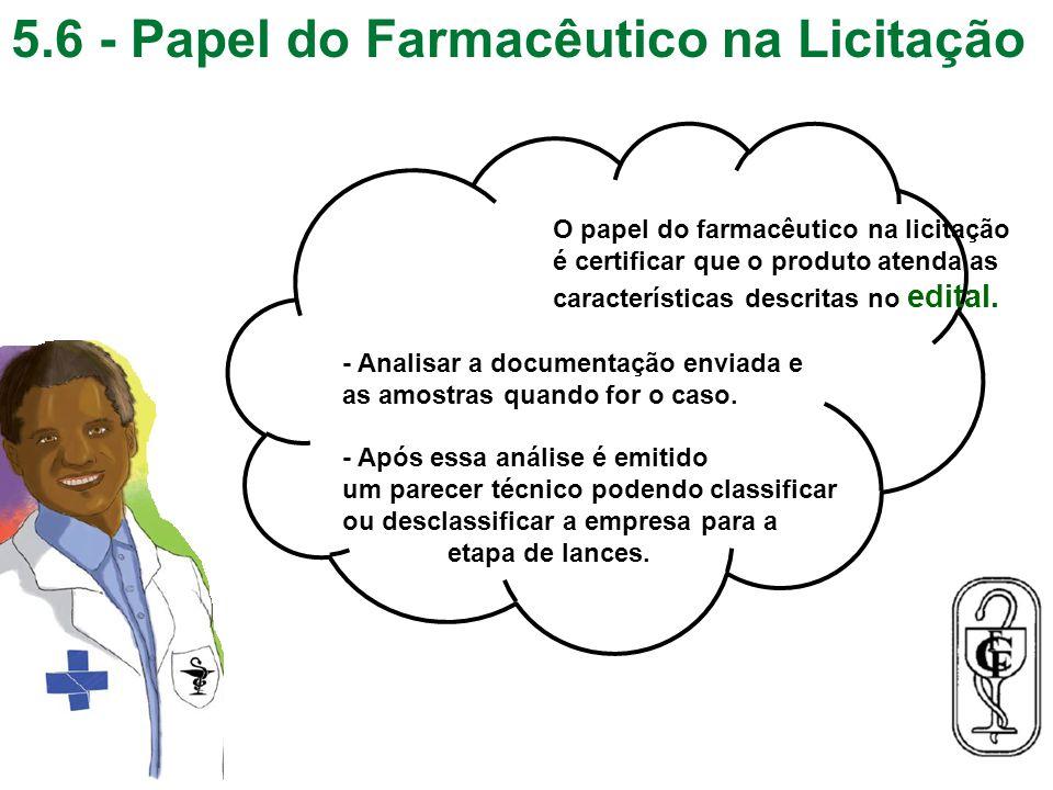 5.6 - Papel do Farmacêutico na Licitação 31 O papel do farmacêutico na licitação é certificar que o produto atenda as características descritas no edi