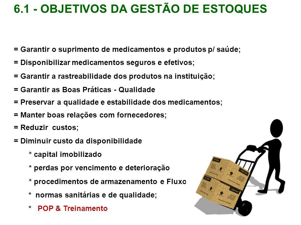 6.1 - OBJETIVOS DA GESTÃO DE ESTOQUES = Garantir o suprimento de medicamentos e produtos p/ saúde; = Disponibilizar medicamentos seguros e efetivos; =
