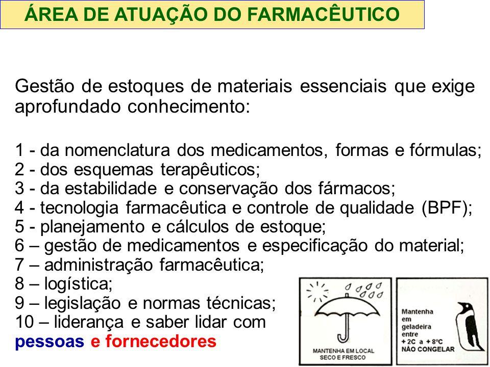 Gestão de estoques de materiais essenciais que exige aprofundado conhecimento: 1 - da nomenclatura dos medicamentos, formas e fórmulas; 2 - dos esquem