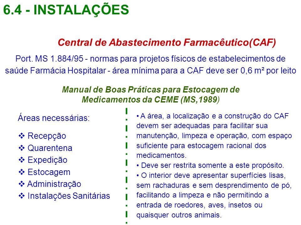 6.4 - INSTALAÇÕES Central de Abastecimento Farmacêutico(CAF) Port. MS 1.884/95 - normas para projetos físicos de estabelecimentos de saúde Farmácia Ho
