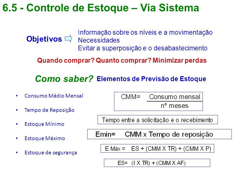 6.5 - Controle de Estoque – Via Sistema Informação sobre os níveis e a movimentação Necessidades Evitar a superposição e o desabastecimento Objetivos