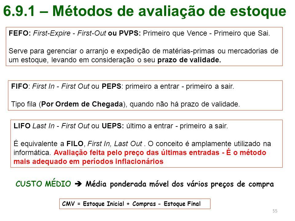 6.9.1 – Métodos de avaliação de estoque 55 FEFO: First-Expire - First-Out ou PVPS: Primeiro que Vence - Primeiro que Sai. Serve para gerenciar o arran