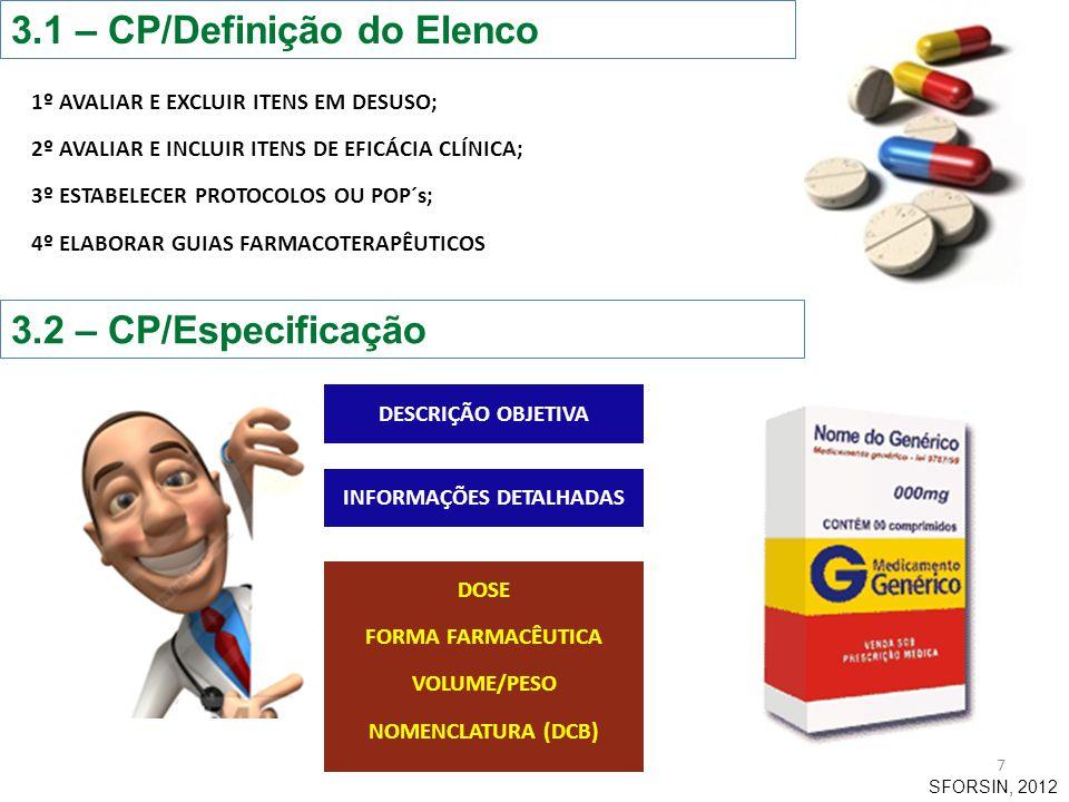 3.3 – CP/Classificação 8 Agrupa-se os medicamentos e os produtos farmacêuticos, elegendo critérios, para a sua posterior codificação (ordenação e rastreabilidade de estoque).