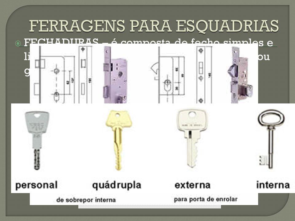  FECHADURAS – é composta de fecho simples e lingueta. Pode ser de cilindro, de segurança ou gorges, e normais.