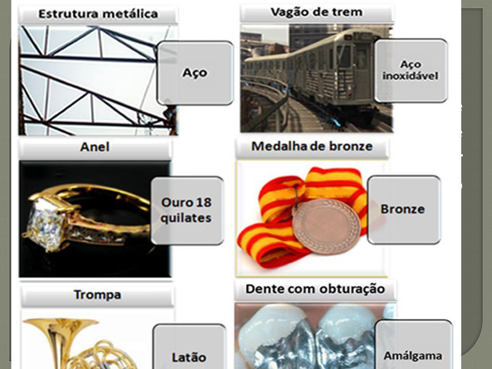  É a mistura, de aspecto metálico e homogêneo, de um ou mais metais entre si ou com outros elementos. Deve ter constituição cristalina e comportament