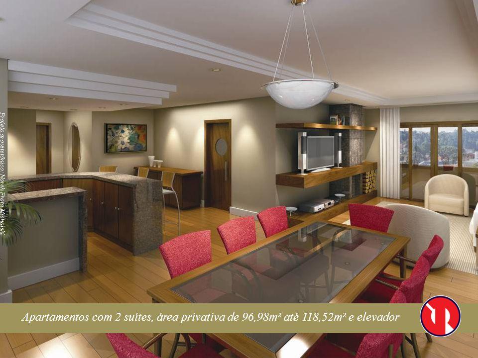 Apartamentos com 2 suítes, área privativa de 96,98m² até 118,52m² e elevador Projeto arquitetônico: Noreh Frota Michalski