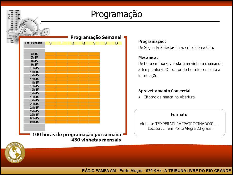 RÁDIO PAMPA AM - Porto Alegre - 970 KHz - A TRIBUNA LIVRE DO RIO GRANDE Formato Vinheta: TEMPERATURA PATROCINADOR ...