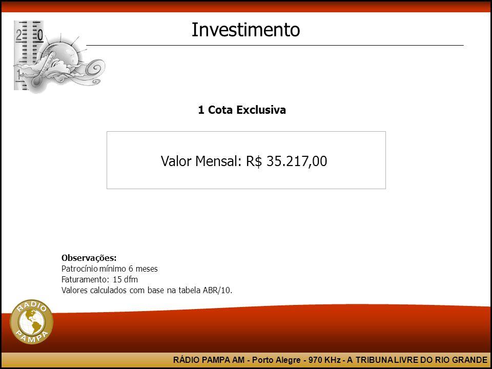 RÁDIO PAMPA AM - Porto Alegre - 970 KHz - A TRIBUNA LIVRE DO RIO GRANDE Valor Mensal: R$ 35.217,00 Investimento Observações: Patrocínio mínimo 6 meses Faturamento: 15 dfm Valores calculados com base na tabela ABR/10.
