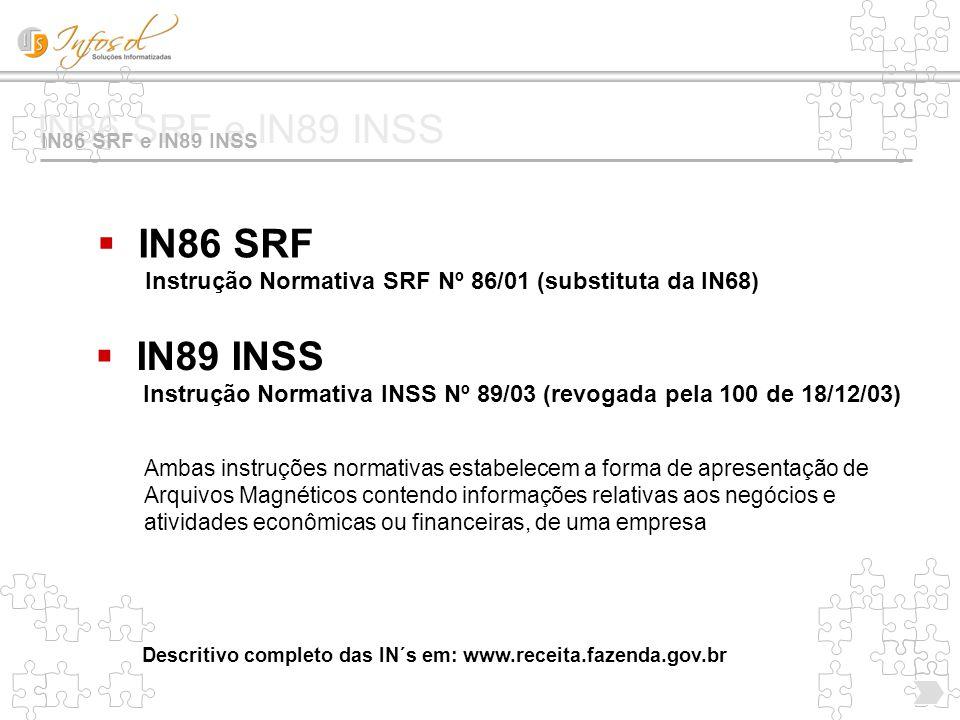 IN86 SRF e IN89 INSS  IN86 SRF Instrução Normativa SRF Nº 86/01 (substituta da IN68) Ambas instruções normativas estabelecem a forma de apresentação