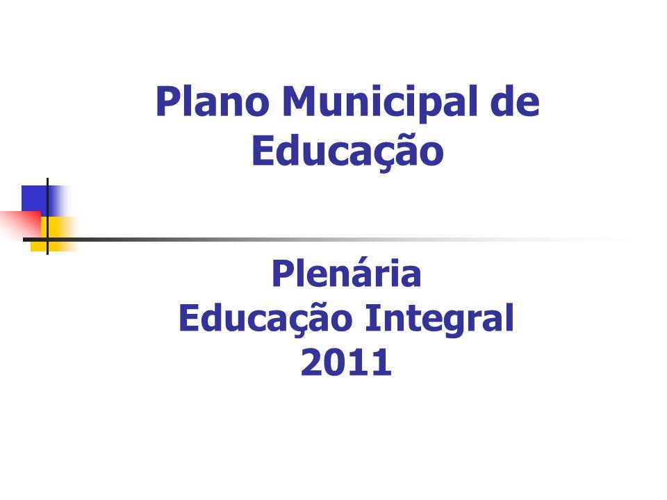 Plano Municipal de Educação Plenária Educação Integral 2011
