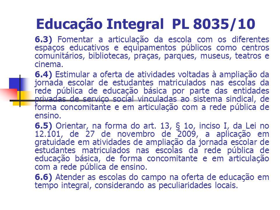 Educação Integral PL 8035/10 6.3) Fomentar a articulação da escola com os diferentes espaços educativos e equipamentos públicos como centros comunitários, bibliotecas, praças, parques, museus, teatros e cinema.