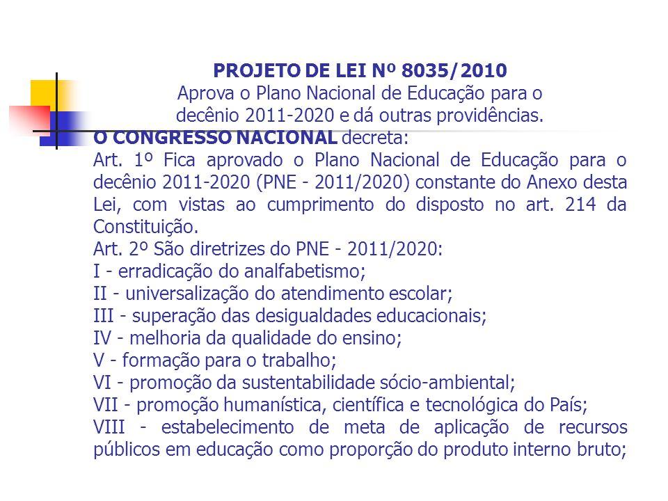PROJETO DE LEI Nº 8035/2010 Aprova o Plano Nacional de Educação para o decênio 2011-2020 e dá outras providências.